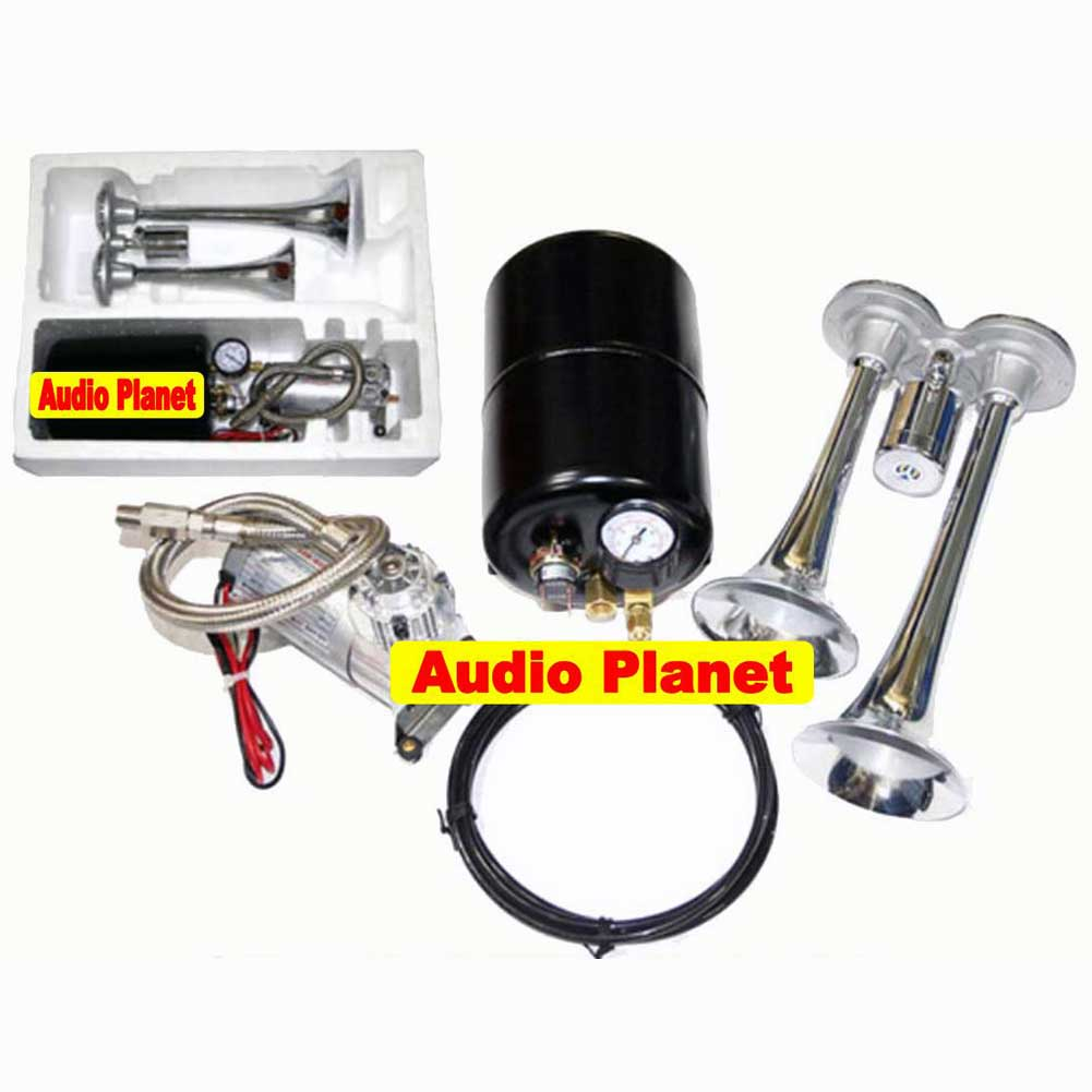 Truck train air horn dual trumpet very loud 12v 25l tank complete kit 130psi train truck air horn kit publicscrutiny Choice Image